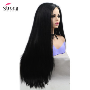 Image 2 - Strongbeauty Long Straight Wig Ombre Hair Black / Red Synthetic Lace Front Wigs For Woman