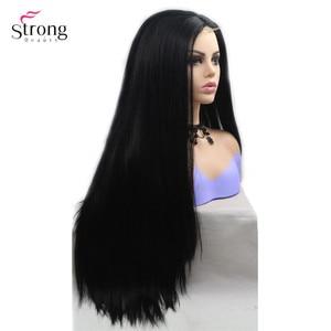 Image 2 - Strongbeauty peluca larga recta para mujer, pelo ombré negro/rojo, sintética, con encaje frontal