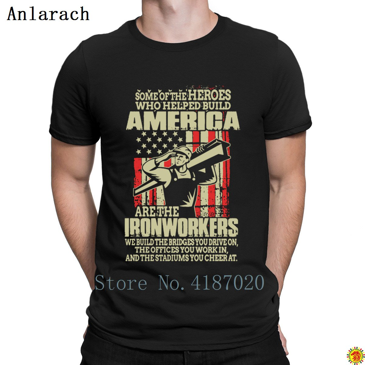 America Ironworker T-Shirts Hip Hop Hilarious Creative Spring Autumn T Shirt For Men Best Gift O Neck Anlarach Normal image