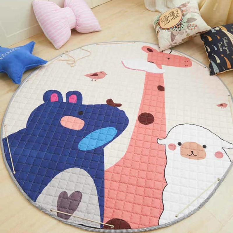 Animal Printed Round Kids Rug Toys Children's Carpet Baby Play Mat Cotton Developing Mat Rug Puzzle Play Mat Storage Bag Toys | Happy Baby Mama