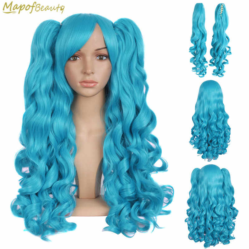 MapofBeauty Long Wavy Cosplay Wigs 2 Ponytails Shape Claw Black Gold Brown Blue Pink 19Color Heat Resistant Synthetic Hair