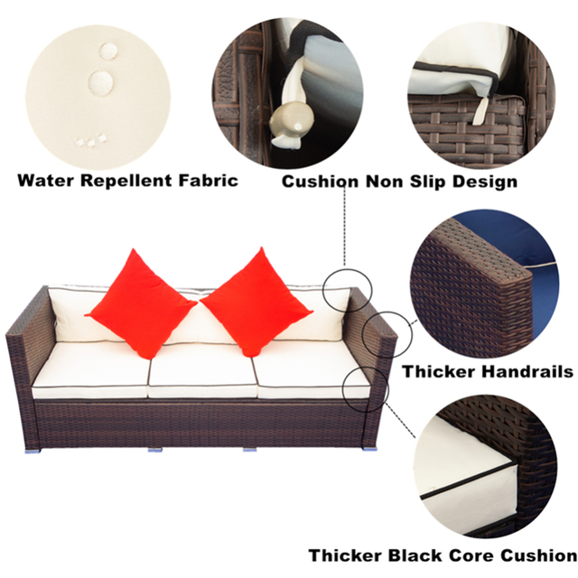 3 Piece Patio  Wicker Sectional Sofa Set  3