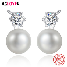 AGLOVER Pearl Earrings For Women 925 Silver Stud Earrings Genuine Natural Freshwater Pearl Fine Jewelry Purple Pink Black