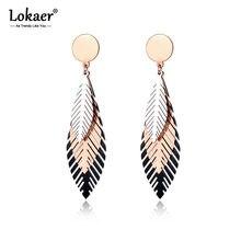 Lokaer-pendientes de acero inoxidable con forma de hoja de oro rosa y negro, joyería creativa de estilo bohemio para mujer, E19100