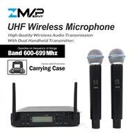 ZMVP Professional GLXD4 UHF Live Vocal Karaoke Wireless Microphone System With BETA58 Dual Handheld Transmitter Mic 600 699 Mhz