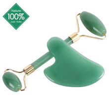 ABILYMAX Natural Jade Roller and Gua Sha Set Face Massager Lift As Facial Skin C