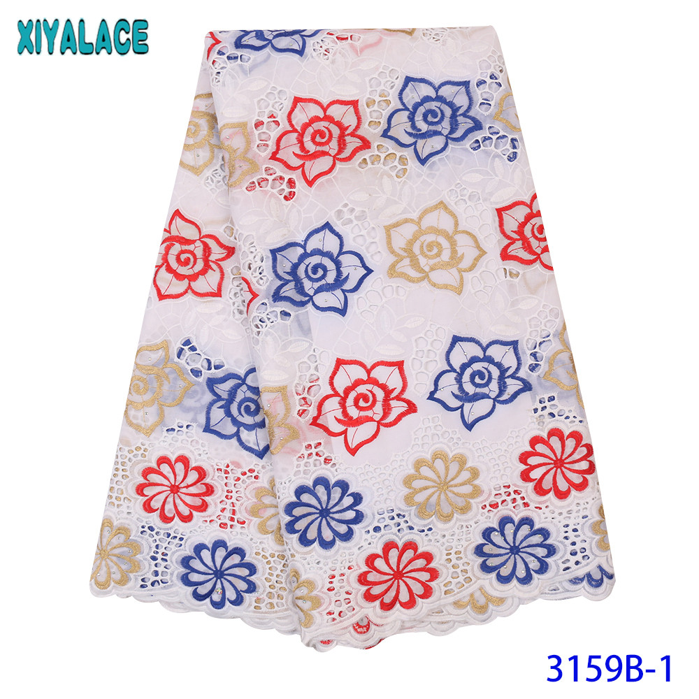 Cotton Lace Fabric Hot Sale Dry Lace Fabric Latest Lace Fabric With Stones Hollow Out Design KS3159B