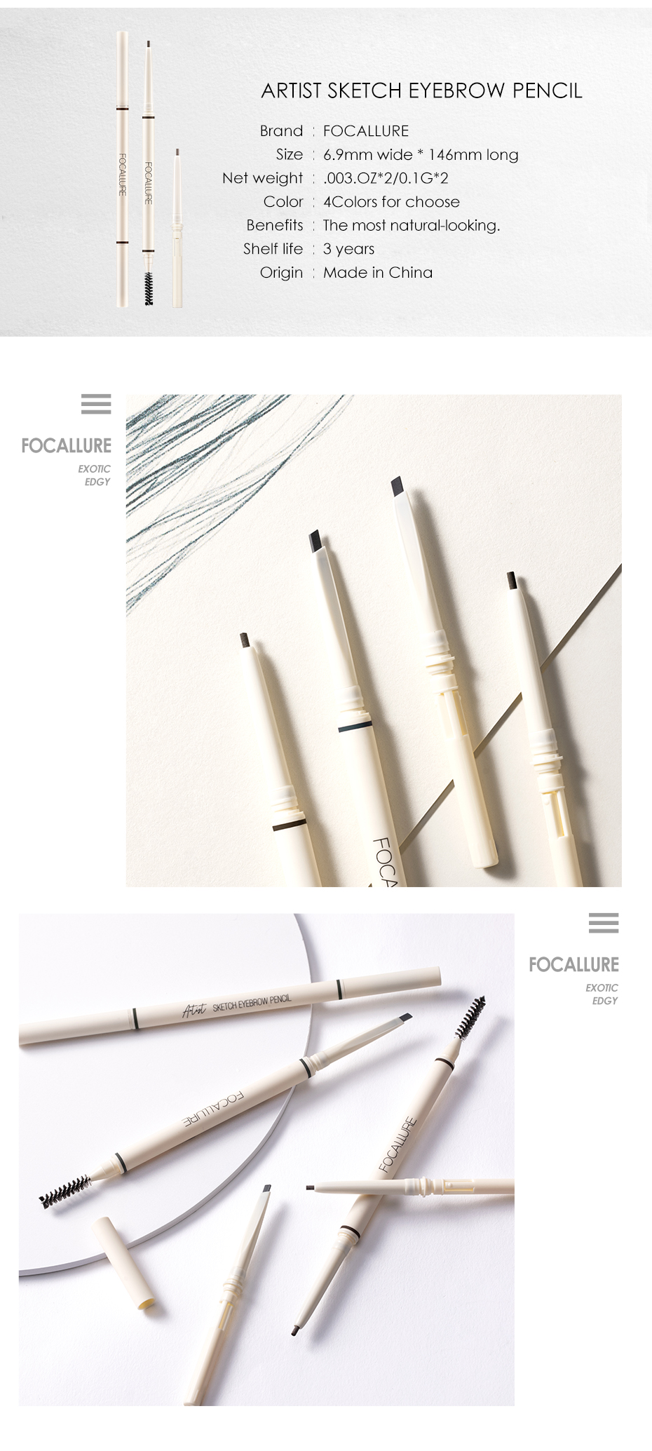 FOCALLURE Artist Sketch Eyebrow Pencil Waterproof Natural Long Lasting Tint 4 Color Brows Eye Makeup Eye Brow