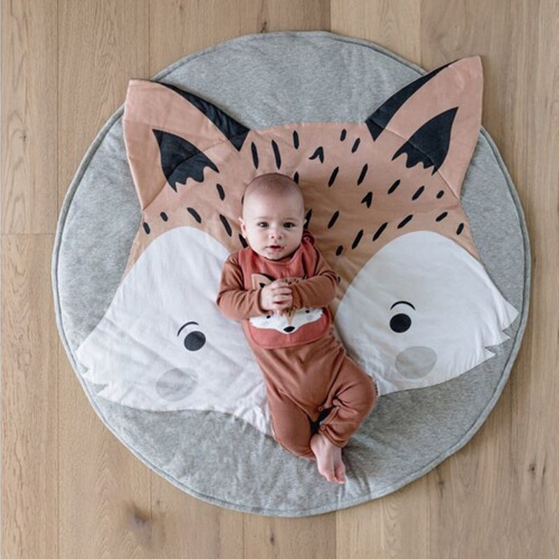 90CM Fox Design Baby Photography Mat Round Carpet Cotton Animal Playmat Newborn Infant Crawling Blanket Kids Room Decor Props