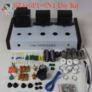 Image 1 - Nobsound casa áudio tubo amplificadores kit diy 6z4 + 6n2 6p1 aço inoxidável habitação saída de potência 2*4w ac110v/220v opcional