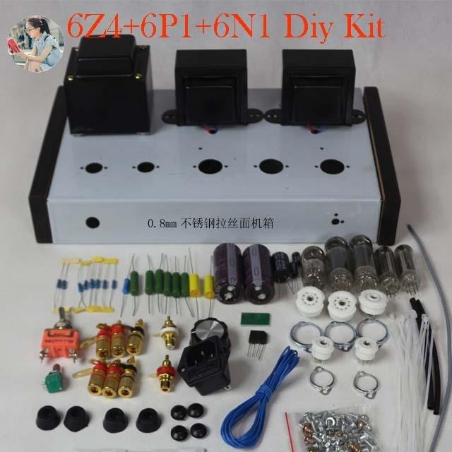 Nobsound casa áudio tubo amplificadores kit diy 6z4 + 6n2 6p1 aço inoxidável habitação saída de potência 2*4w ac110v/220v opcional