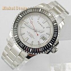 Parnis 41mm męskie top mechaniczne zegarki szafirowe szkło ceramiczna ramka szkiełka zegarka biała tarcza okno daty automatyczny męski zegarek na rękę