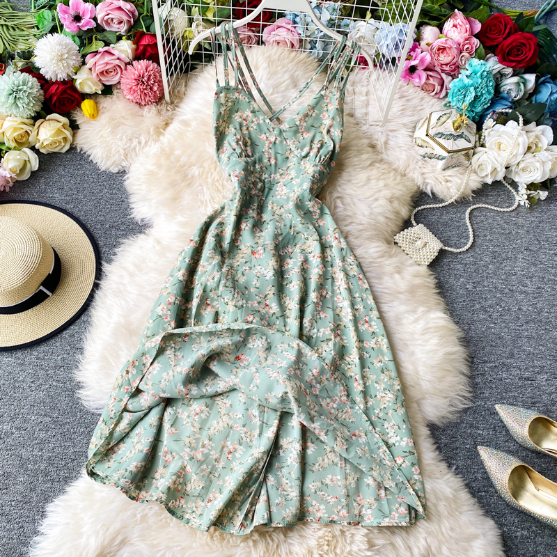 STARK Sexy Seaside Flower Fresh Suspender Dress Holiday Skirt Thin Super Fairy Beach Skirt Back Hollow Medium Length Skirt Party