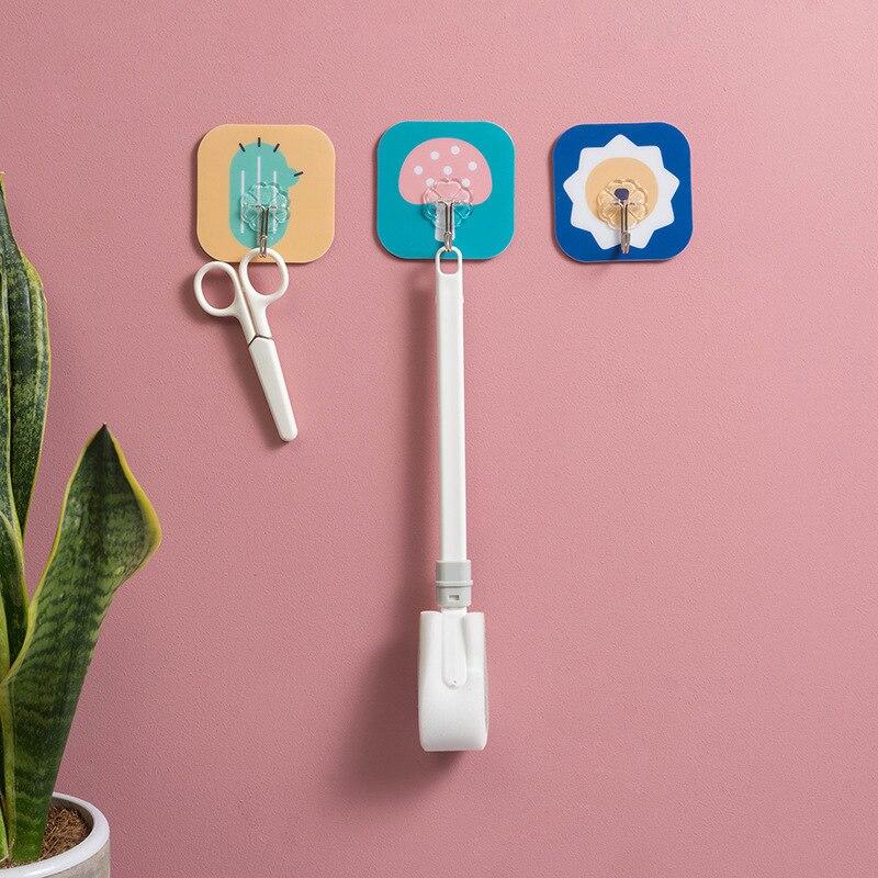 Kitchen Wall Hanger Hook Strong Adhesive Bathroom Door Hooks Wall Hook Cartoon Key Holder Wall Home Decoration Accessories