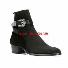 Men Buckle Ankle Suede Boots Brogue Jodhpur Leather Suede Calf Chelsea Boots Cowboy Kanye West Fashion Shoes men kanye west chelsea boots male silky gloss suede leather mashup boot italian leather luxury men vintage martin shoes