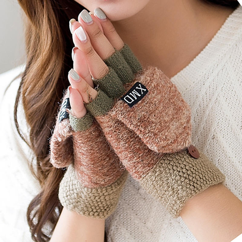 Mittens Glove Finger Flip Thickening Winter Warm Women Without Wool
