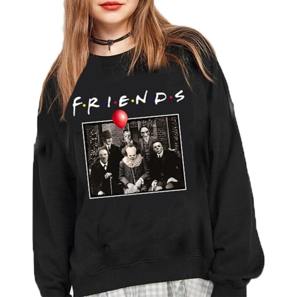 Horror Friends Pennywise Michael Myers Jason Voorhees Halloween Hoodie Jacket Sweatshirts For Women Mens Cotton Hip Hop Hoodie