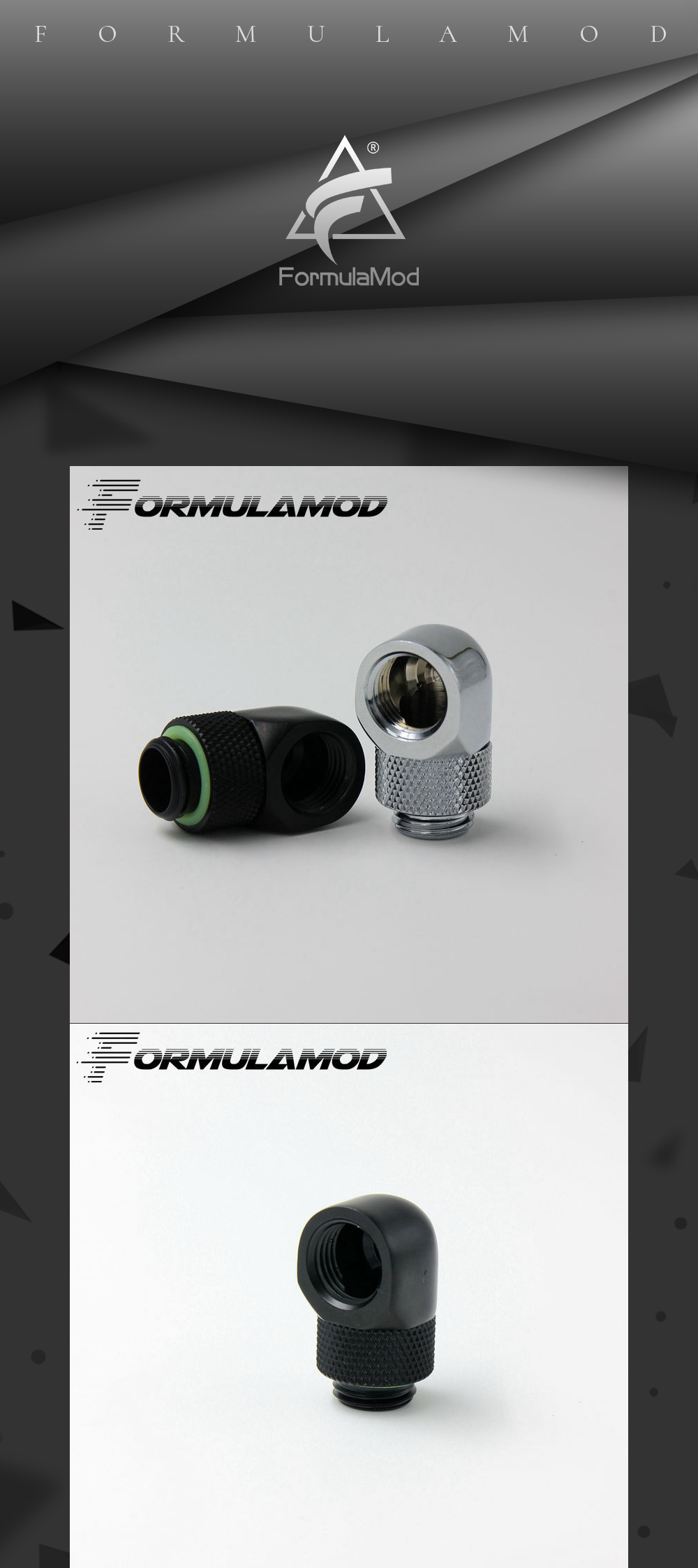 FormulaMod Fm-90DX, Black Silver G1/4'' thread 90 degree Rotary Fitting Adapter Rotating 90 degrees water cooling Adaptors