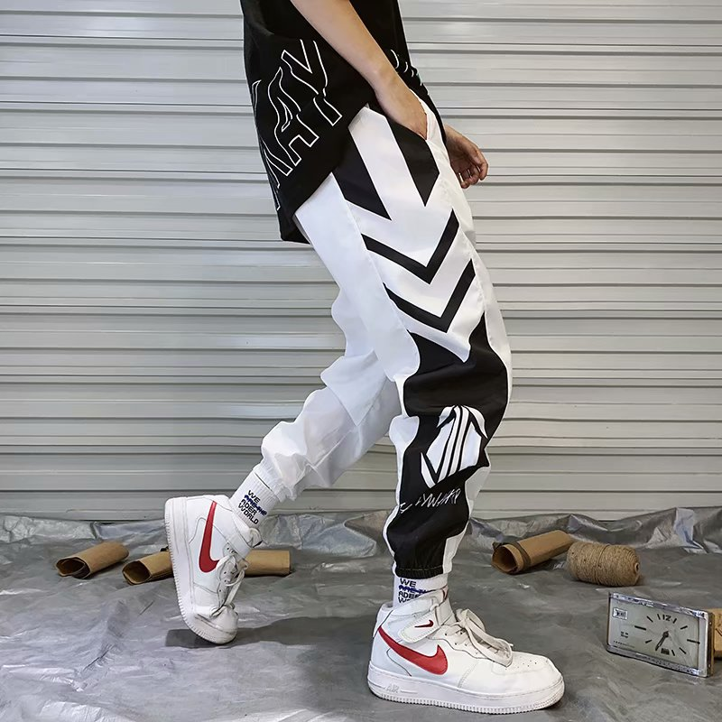 Harajuku Sweat pant Jogger Pants Hip Vintage Color Block Patchwork Streetwear Harem Pant