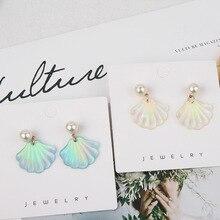 Pendientes de perlas de colores de resina románticas coreanas de moda 2019 elegantes Pendientes colgantes de mujer