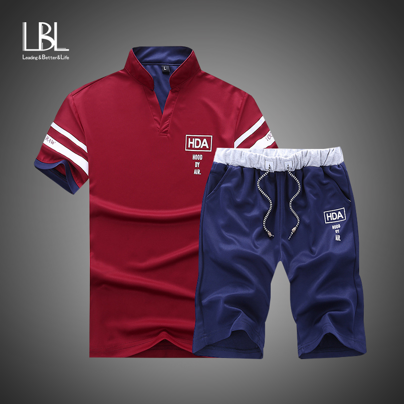 Fashion Tracksuit Men Sets 2019 Summer Casaul Slim Fit Sporting Suit Mens Masculino Short Sleeve T Shirt+Shorts Two Pieces Sets