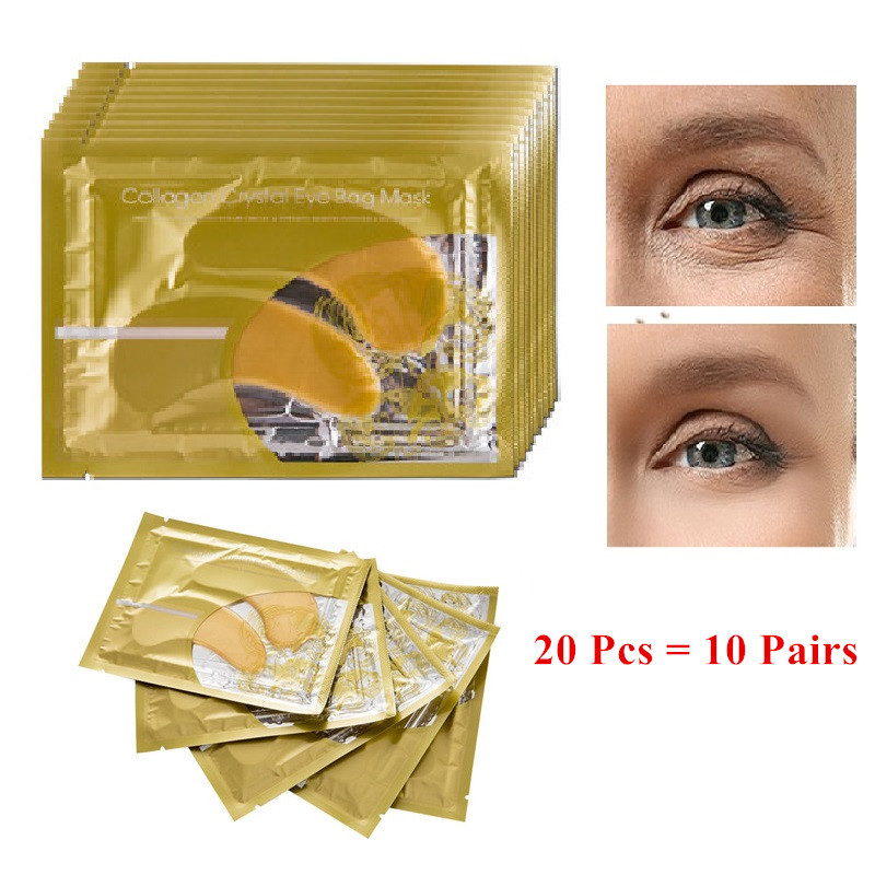 20Pcs=10Pairs Beauty Gold Crystal Collagen Eye Mask Eye Patch For Eyes Mask Acne Korean Collagen Mask Skin Care