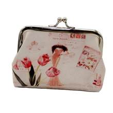 Women Coin Purse Cute Flower Printed Kiss Lock Faux Leather Mini Ladies Small Wallet Clutch Bag For Girl Gift(China)