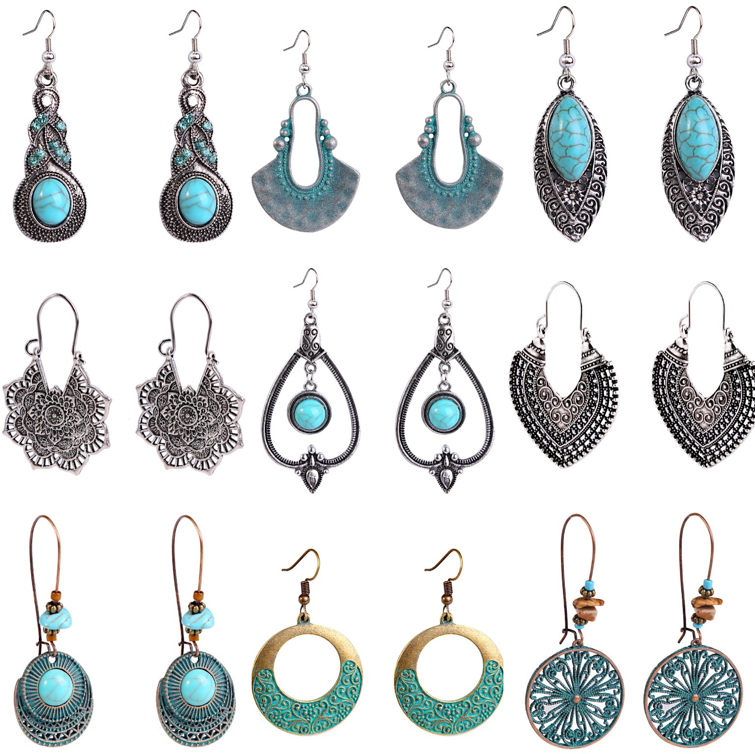 Fashion European and American bohemian earrings with vintage ethnic retro love earrings for charming women lady gifts