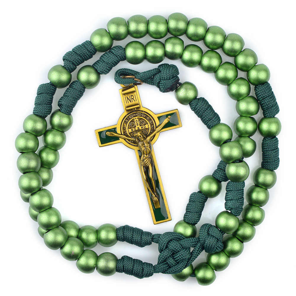 Rugged Paracord Rosaries 12mm Green Acrylic Beads Catholic St ...