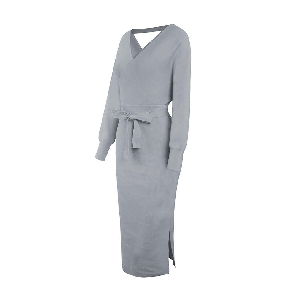 Long Sleeve V Neck With Cross Belt Sweater Knitted Dress 26
