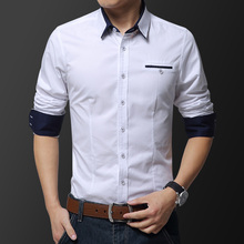 2019 Autumn Mens Long Sleeve Shirt Business Belt Fashion Color Matching Casual