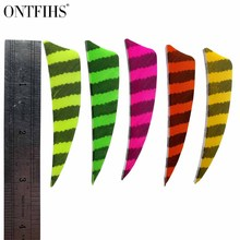 50pcs 3 Shield Cut Striped Fletching Feathers Archery Hunting And Shooting Arrow Feather Real Turkey