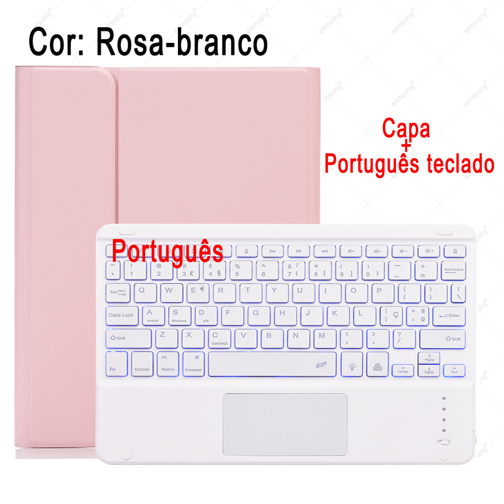 Portuguese Keyboard Orange For iPad 7th 8th Generation 10 2 2019 A2200 A2198 A2232 Case with Backlit Touchpad Keyboard