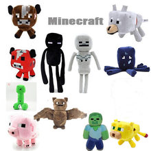 2019 Minecrafted Stuffed Plush Toy Game Doll Spider Mooshroom Enderman Ocelot Zombie Pig Squid Archer Bat Wolf Children Kid Gift(China)