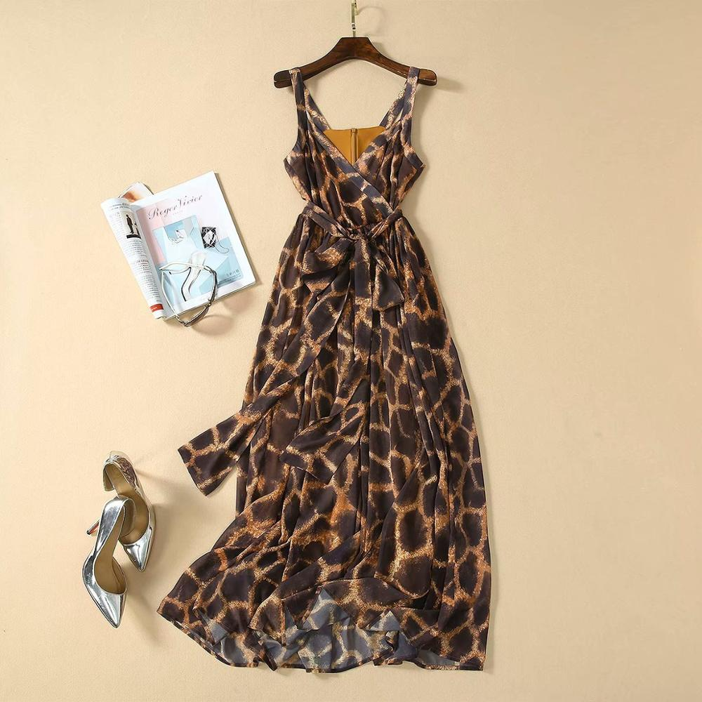 2020 New Summer Fashion Holiday Beach Strap Chiffon Long Dress Sleeveless Classic Design Quality Leopard Print Dresses