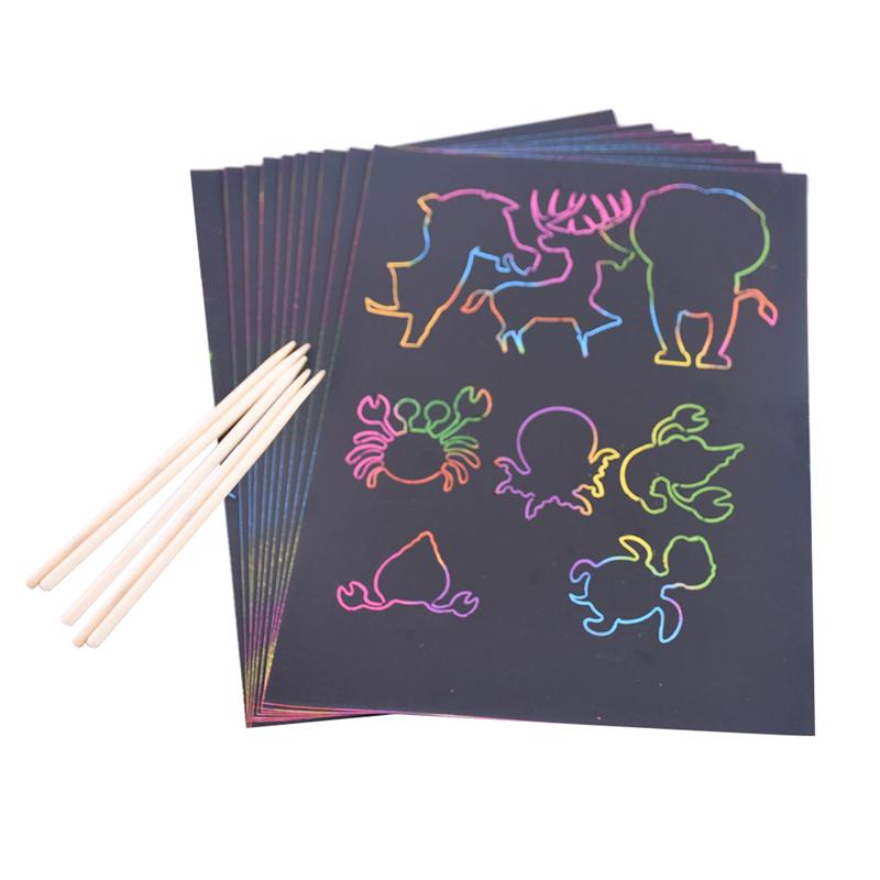 100PCS/2Sets 32K Scratch Drawing Paper DIY Kids Scratch Painting Toys With 10PCS Bamboo Pens Party Favor For Children