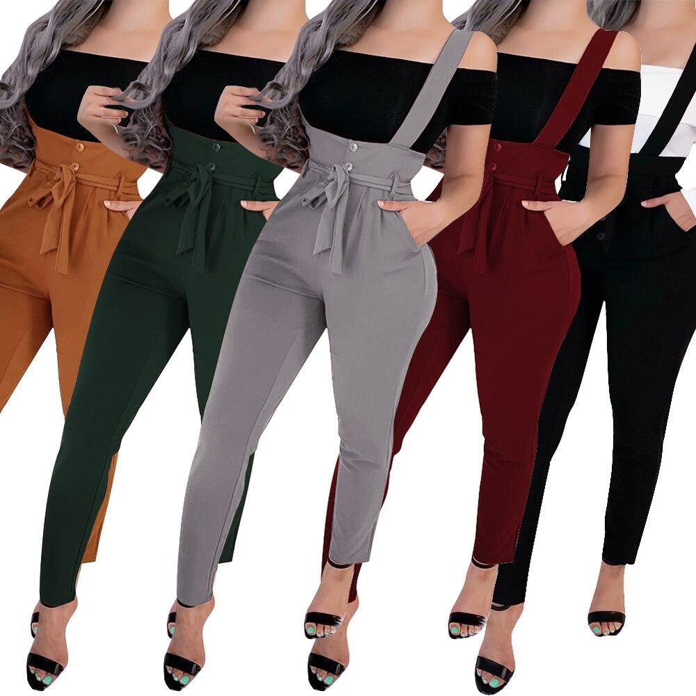 Women's Jumpsuits Ruffle Pocket High Waist Belt Jumpsuit Overall Long Trousers Pants One Piece Jumpsuit Streetwear Romper