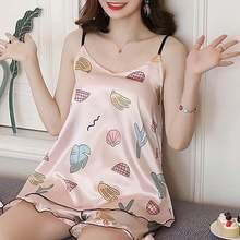 2020 Vrouwen Zomer Nachtkleding Pyjama Top Shorts Sets Gedrukt Sexy Mouwloze Strap Casual Zijde Satijn Nachtkleding Nachtkleding Set Femme