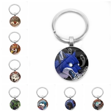 2019 Hot New Handmade Cute Cartoon Animal Head Fierce Wolf Key Ring Glass Convex Birthday Gift