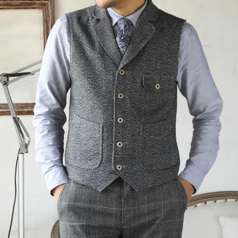MJ-0008 Read Description! Asian size vintage 65% wool vest 560 GSM mens casual tweed vest