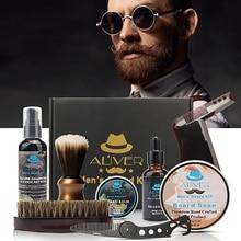 ALIVER Men's Beard Kit Styling Tool Beard Bib Aprons Balm Beard Oil Comb Moisturizing Wax Beard Care Set