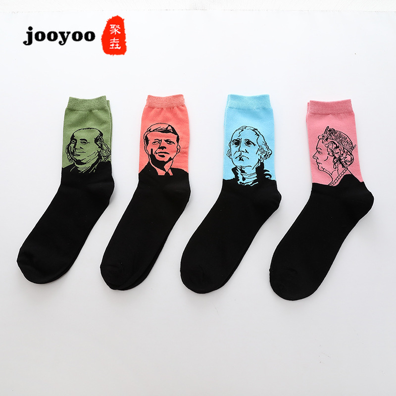 Men's Socks Fashion New Socks Personality Men's Characters Head Pattern Middle Tube Socks Trendy Semi-High Sock