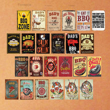 DAD'S BBQ Sign Metal Tin Sign Plaque Metal Wall Decor For Barbecue Bar Pub Kitchen Party Zone Vintage Metal Signs Iron Painting(China)