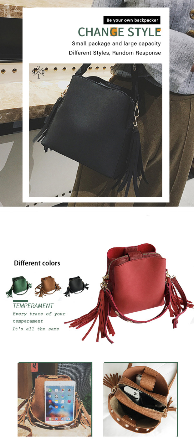 Fashion Scrub Women Bucket Bag Vintage Tassel Messenger Bag High Quality Retro Shoulder Bag Simple Crossbody Bag Tote 0