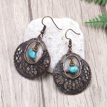 Antique Copper Hollow Flower Filigree Round Earrings Ethnic Tribal Aztec Hippy Boho Bohemian Dangle Statement Women Jewelry