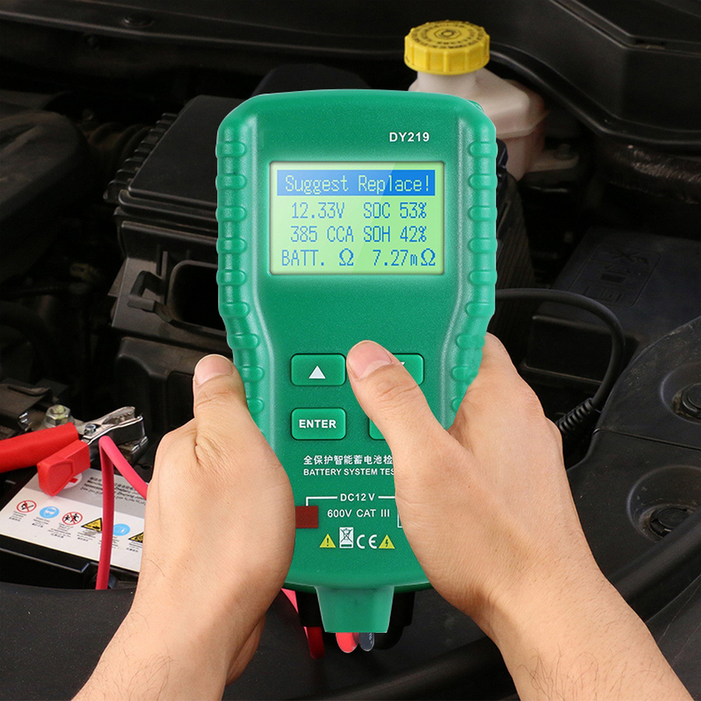 DY219 12V Car Battery Tester Digital Automotive AH CCA Voltage Battery Load Analyzer Multifunction Diagnostic Tool Accessories