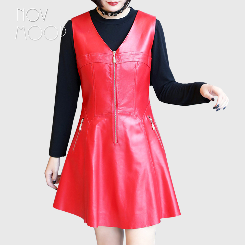 Novmoop doux style noir rouge col en v sans manches en peau de mouton en cuir véritable robe avec fermeture éclair décor robe hiver femme LT2887