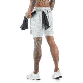 Uomini 2 in 1 Running Pantaloncini Tasche di Sicurezza Quick Dry Shorts Palestra Fitness Sport Shorts Built-in Tasche Fianchi Hiden Tasche con Cerniera 1