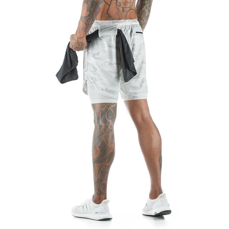 Men 2 in 1 Running Shorts Security Pockets Quick dry Shorts gym fitness Sport Shorts Built-in Pockets Hips Hiden Zipper Pockets(China)