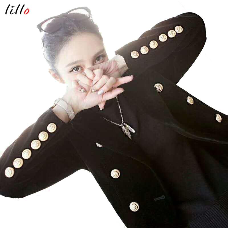 Autumn winter new letters velvet double-breasted small suit men women models coat fashion deep V temperament suit jacket black